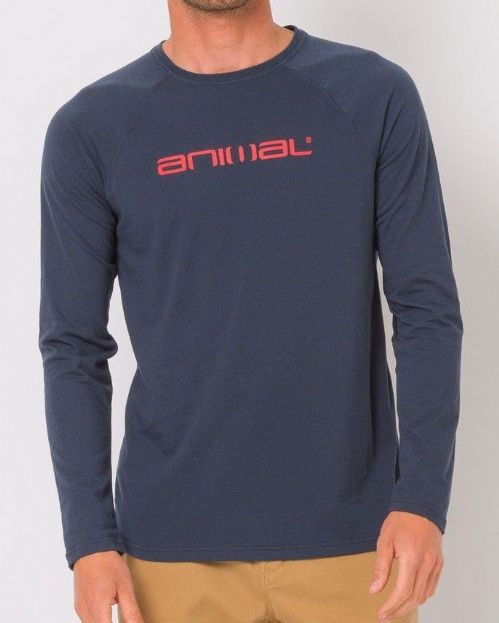 ANIMAL MENS LONG SLEEVED TOP.ACTION COTTON NAVY BLUE CREW T SHIRT TEE 8W 56 F94